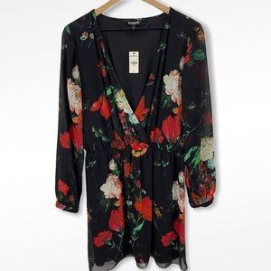 Express Black Red Floral V-neck Dress Large NWT